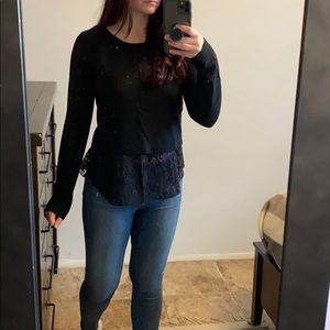 Theory sweater with lace